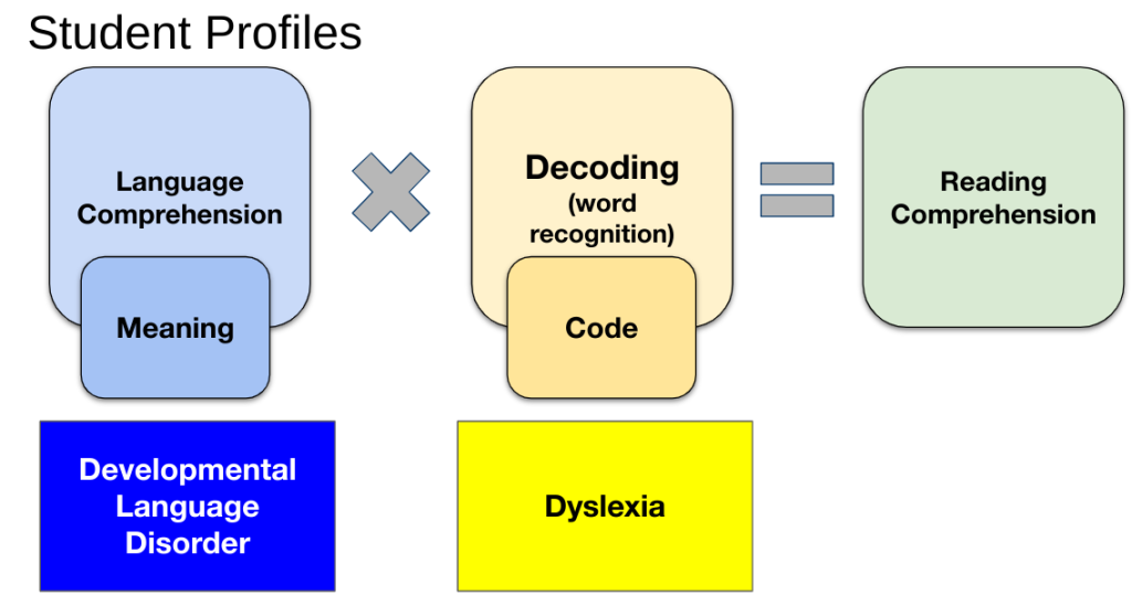 A graphic showing the equation of Language Comprehension X Decoding = Reading Comprehension, with a struggle in LC as DLD, and a struggle in Decoding as Dyslexia.